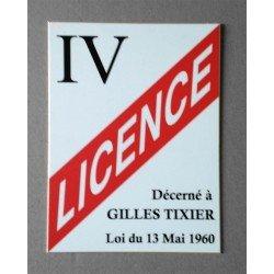 Plaque Humour Licence IV à personnaliser 20x15cm