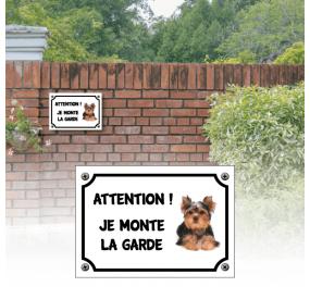 """CHIEN Plaque Pancarte /"""" JE MONTE LA GARDE /"""" YORKSHIRE"""