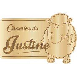 Plaque de Chambre Enfant Bois Mouton
