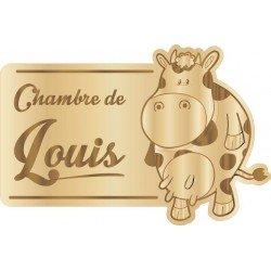 Plaque de Chambre Enfant Bois Vache